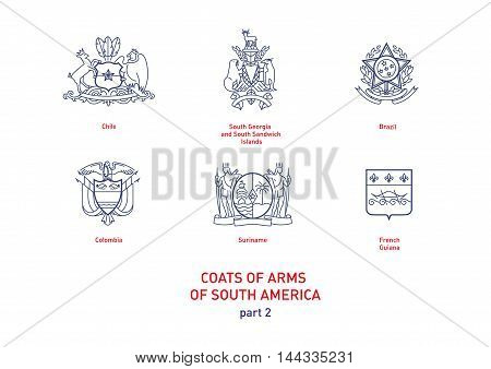 Development of linear images of coats of arms of South America