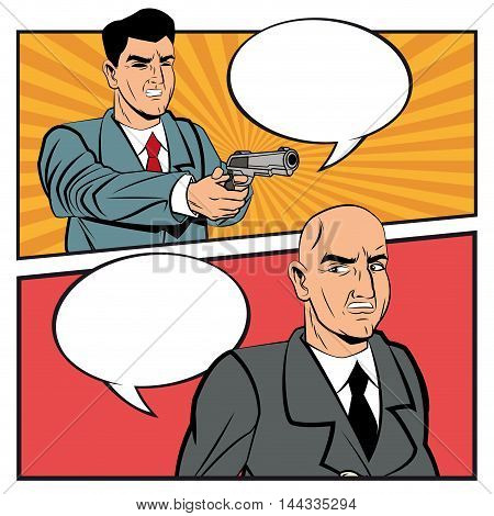 Detective police thief man bubble gun revolver bubble pop art comic cartoon icon. Colorful design. Vector illustration