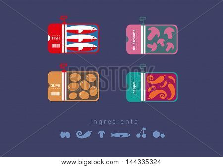 Development creative of flat icons preserved foods