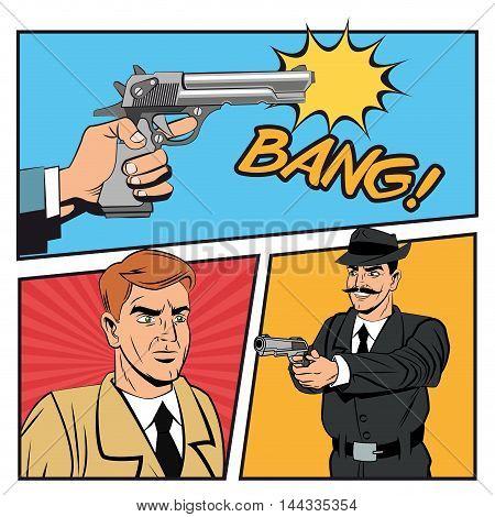 Detective police man gun revolver pop art comic cartoon icon. Colorful design. Vector illustration
