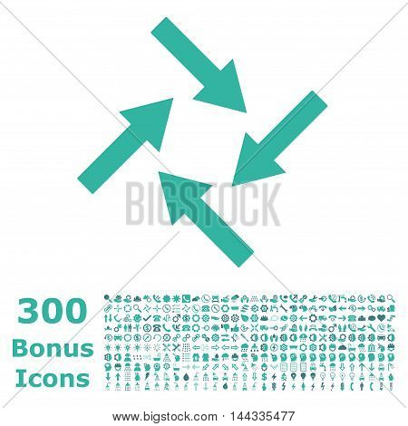 Centripetal Arrows icon with 300 bonus icons. Vector illustration style is flat iconic bicolor symbols, cobalt and cyan colors, white background.