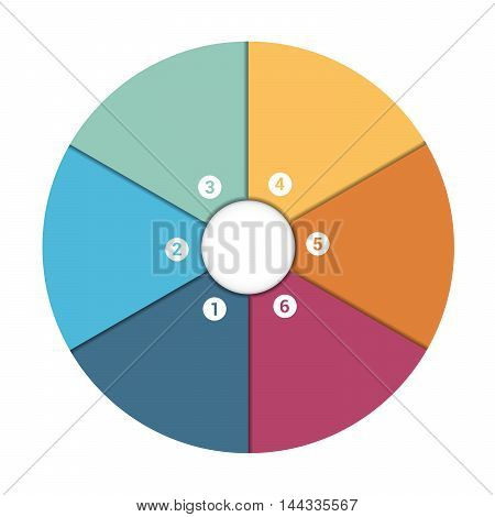 Colourful In The Form Of Flower Petals Around Circle. Template Infographic 6 Position. Pie Chart