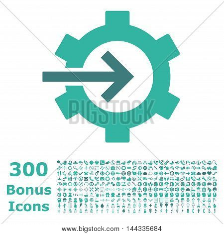 Cog Integration icon with 300 bonus icons. Vector illustration style is flat iconic bicolor symbols, cobalt and cyan colors, white background.