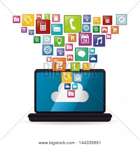 laptop mobile apps application online icon set. Colorful and flat design. Vector illustration