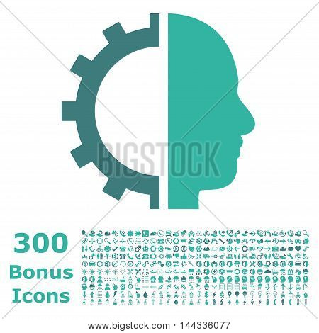 Cyborg Gear icon with 300 bonus icons. Vector illustration style is flat iconic bicolor symbols, cobalt and cyan colors, white background.