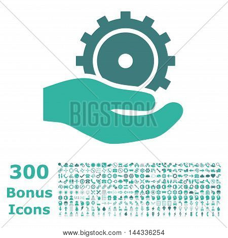 Development Service icon with 300 bonus icons. Vector illustration style is flat iconic bicolor symbols, cobalt and cyan colors, white background.