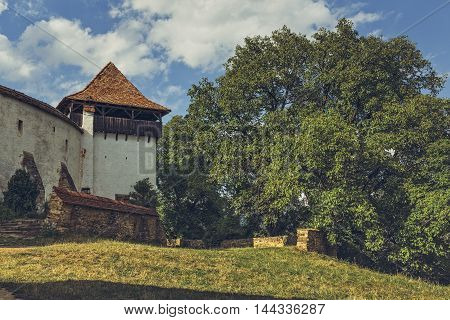 Fortified Church Tower In Viscri, Romania