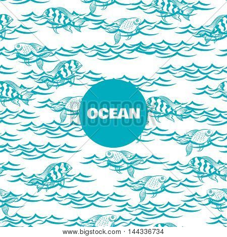 Ocean seamless pattern with fish in the waves vector