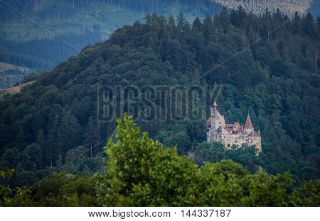 Aerial view of Bran commune with Bran Castle known as Dracula's Castle near Bran in Romania
