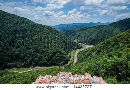 Aerial view from ruined Poenari Castle on Mount Cetatea in Romania