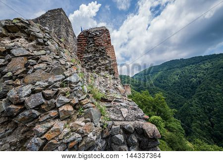 Ruined Poenari Castle on Mount Cetatea in Romania