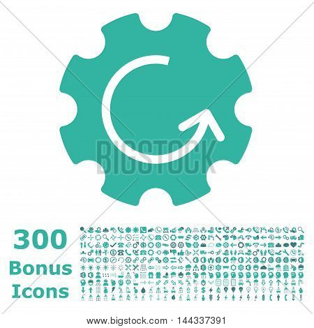 Gear Rotation icon with 300 bonus icons. Vector illustration style is flat iconic bicolor symbols, cobalt and cyan colors, white background.
