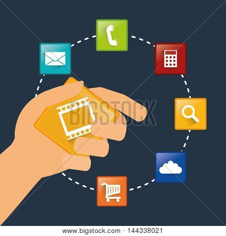 hand mobile apps application online icon set. Colorful and flat design. Vector illustration