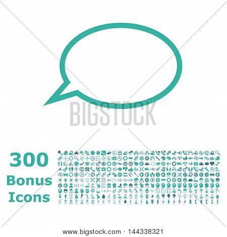 Hint Cloud icon with 300 bonus icons. Vector illustration style is flat iconic bicolor symbols, cobalt and cyan colors, white background.
