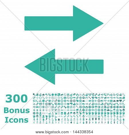 Horizontal Flip Arrows icon with 300 bonus icons. Vector illustration style is flat iconic bicolor symbols, cobalt and cyan colors, white background.