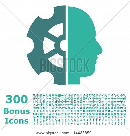 Intellect icon with 300 bonus icons. Vector illustration style is flat iconic bicolor symbols, cobalt and cyan colors, white background.
