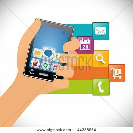 smartphone hand mobile apps application online icon set. Colorful and flat design. Vector illustration