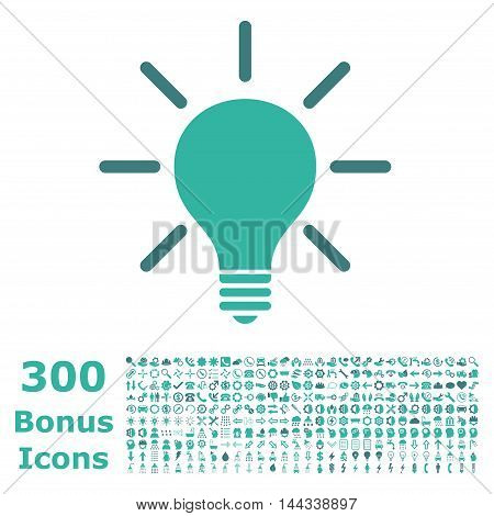 Light Bulb icon with 300 bonus icons. Vector illustration style is flat iconic bicolor symbols, cobalt and cyan colors, white background.