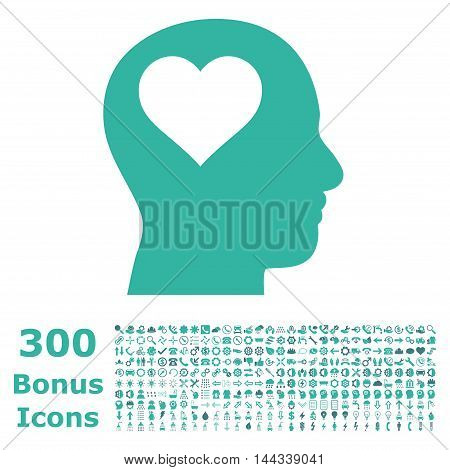 Lover Head icon with 300 bonus icons. Vector illustration style is flat iconic bicolor symbols, cobalt and cyan colors, white background.