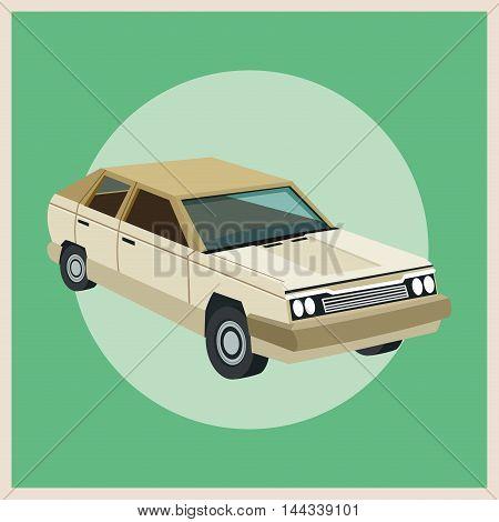 Auto garage car automobile retro cartoon icon. Colorful design. Circle background. Vector illustration