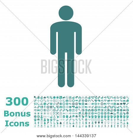 Man icon with 300 bonus icons. Vector illustration style is flat iconic bicolor symbols, cobalt and cyan colors, white background.