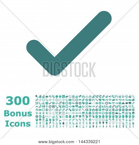 Ok icon with 300 bonus icons. Vector illustration style is flat iconic bicolor symbols, cobalt and cyan colors, white background.