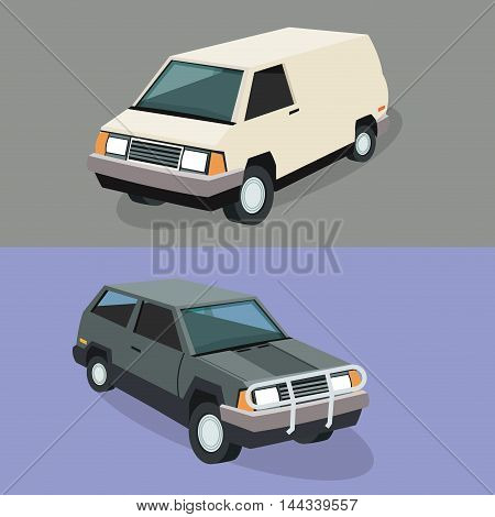 Auto garage couple car automobile retro cartoon icon. Colorful design. Vector illustration
