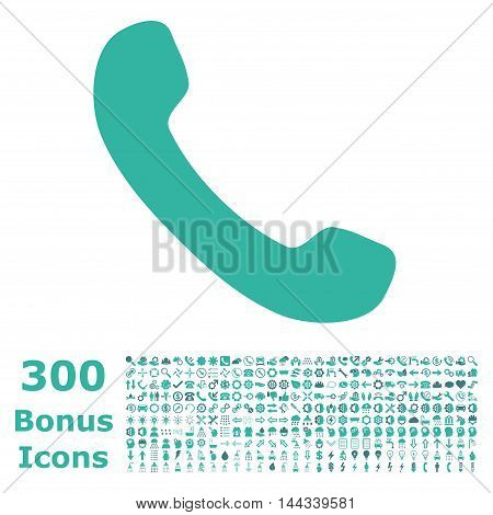 Phone Receiver icon with 300 bonus icons. Vector illustration style is flat iconic bicolor symbols, cobalt and cyan colors, white background.