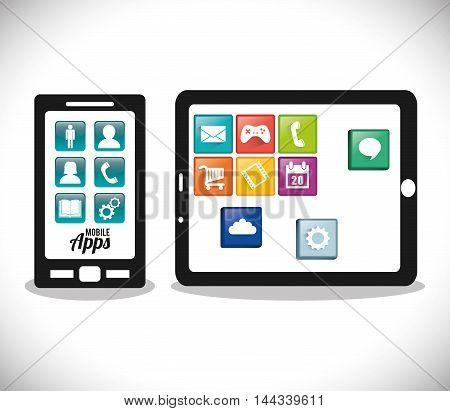 smartphone tablet mobile apps application online icon set. Colorful and flat design. Vector illustration