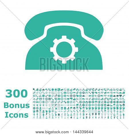 Phone Settings icon with 300 bonus icons. Vector illustration style is flat iconic bicolor symbols, cobalt and cyan colors, white background.
