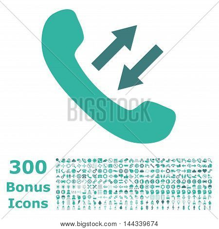 Phone Talking icon with 300 bonus icons. Vector illustration style is flat iconic bicolor symbols, cobalt and cyan colors, white background.