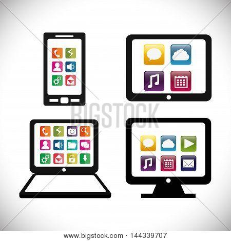 smartphone tablet laptop computer mobile apps application online icon set. Colorful and flat design. Vector illustration
