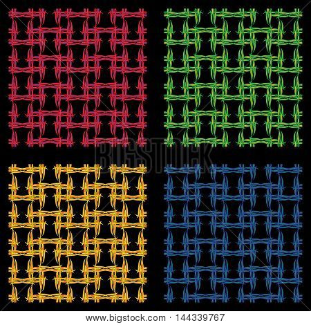 Set wickerwork seamless pattern. Four colors, black background