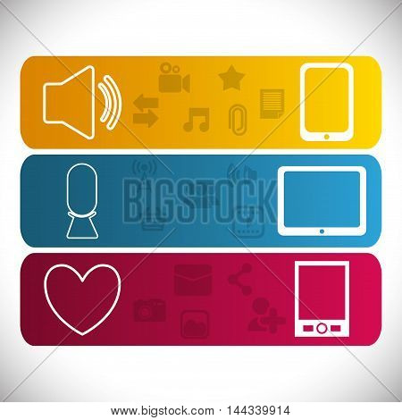 smartphone cellphone heart sound mobile apps application online icon set. Colorful and flat design. Vector illustration