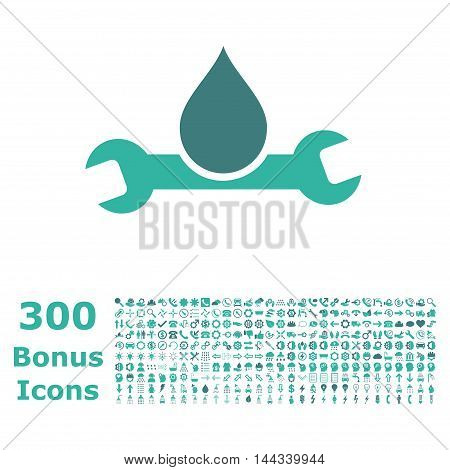 Plumbing icon with 300 bonus icons. Vector illustration style is flat iconic bicolor symbols, cobalt and cyan colors, white background.