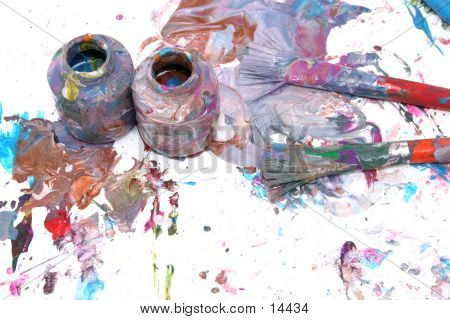 Messy Bottles Of Paint