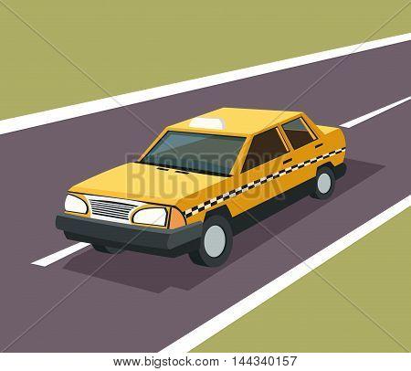 taxi auto car automobile retro cartoon icon. Colorful design. Street background. Vector illustration