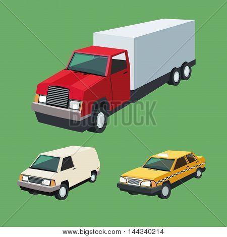 Auto truck garage car automobile retro cartoon icon set. Colorful design. Vector illustration