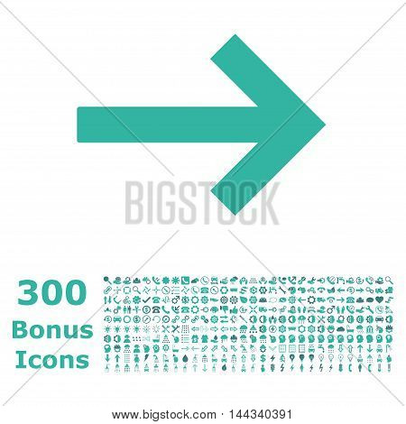 Right Arrow icon with 300 bonus icons. Vector illustration style is flat iconic bicolor symbols, cobalt and cyan colors, white background.