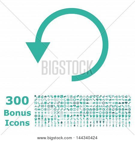 Rotate Ccw icon with 300 bonus icons. Vector illustration style is flat iconic bicolor symbols, cobalt and cyan colors, white background.
