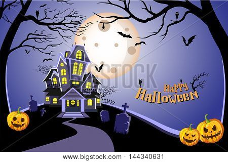 Haunted house halloween background with tree, bat, tomb, tombstone, and pumpkin. Vector illustration eps10