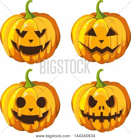 Halloween pumpkins set. Vector emoji icons illustration