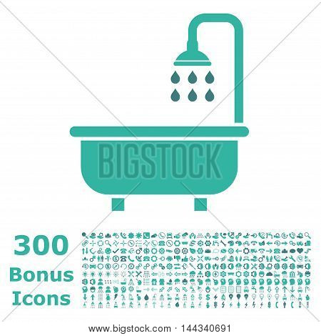 Shower Bath icon with 300 bonus icons. Vector illustration style is flat iconic bicolor symbols, cobalt and cyan colors, white background.