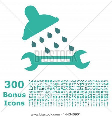 Shower Plumbing icon with 300 bonus icons. Vector illustration style is flat iconic bicolor symbols, cobalt and cyan colors, white background.