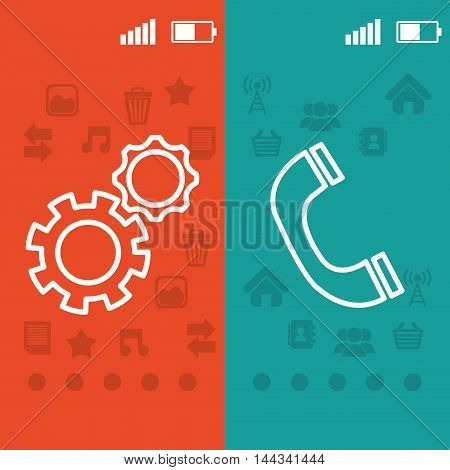 gear phone pointed wallpaper battery signal mobile apps application online icon set. Colorful and flat design. Vector illustration