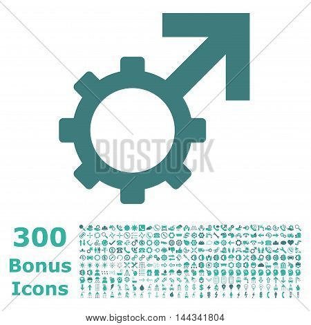 Technological Potence icon with 300 bonus icons. Vector illustration style is flat iconic bicolor symbols, cobalt and cyan colors, white background.