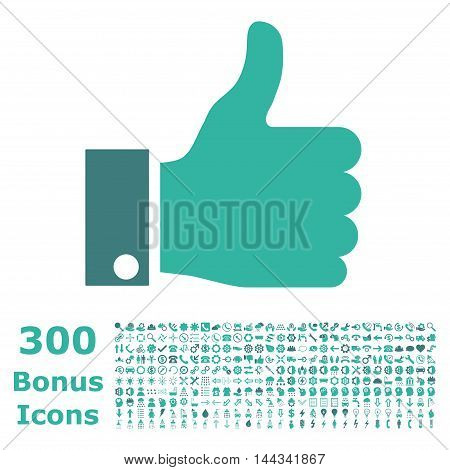 Thumb Up icon with 300 bonus icons. Vector illustration style is flat iconic bicolor symbols, cobalt and cyan colors, white background.