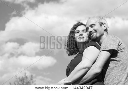 Couple In Love Embracing. Happy Couple