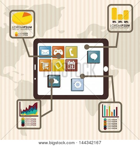tablet map infographic mobile apps application online icon set. Colorful and flat design. Vector illustration