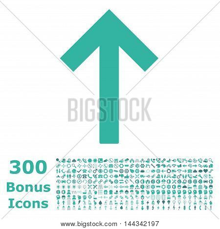 Up Arrow icon with 300 bonus icons. Vector illustration style is flat iconic bicolor symbols, cobalt and cyan colors, white background.